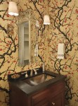 Magnificent Faux Bois Wallpaper with Cherry Blossoms Etched Glass Mirror