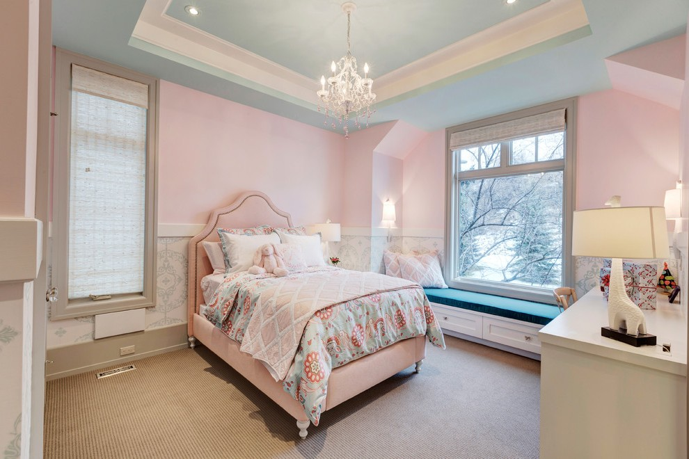 calgary chandelier for girls room with traditional kids train sets and nailhead trim wainscoting