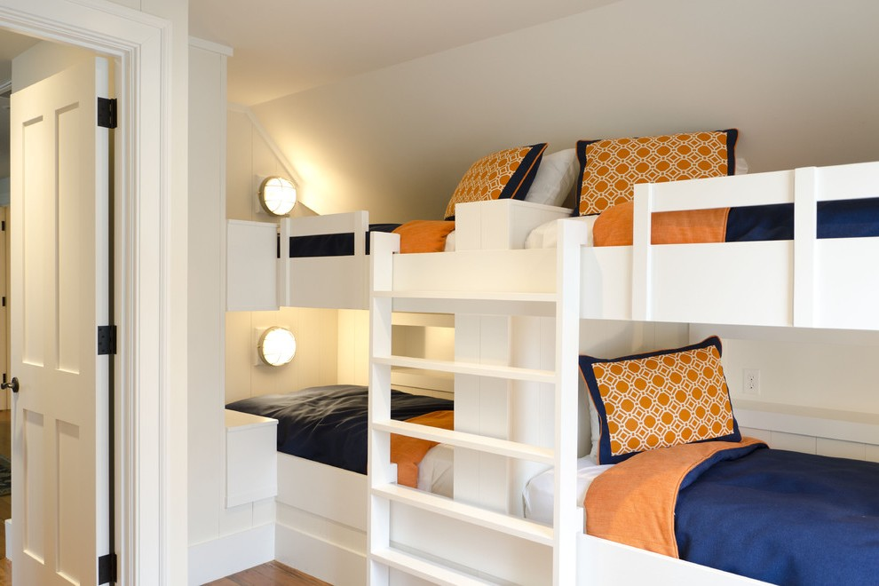 Sparkling Blue Bunk Beds with Builtin Bench Stairs