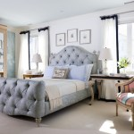 dc metro tufted sleigh headboard with traditional floor lamps bedroom and curtain panels upholstered