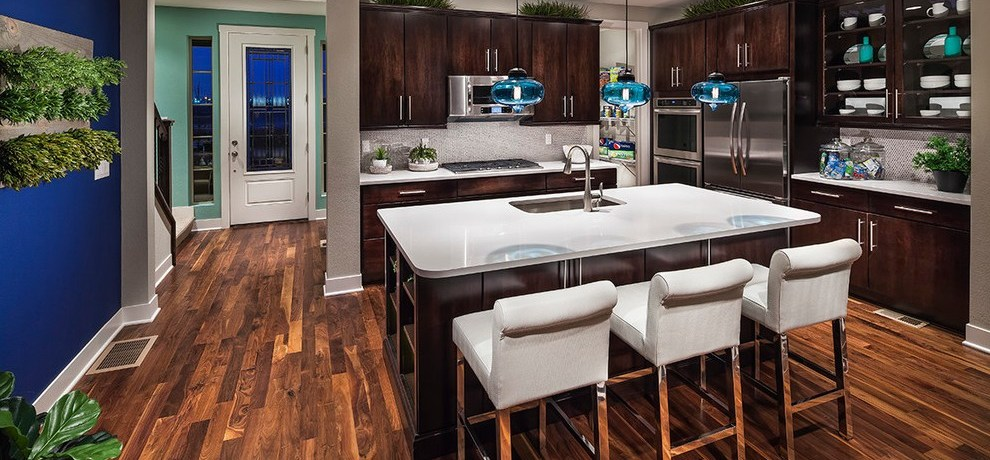 denver dark wood cabinets kitchen with wooden bar height stools contemporary and beige counter stool countertop