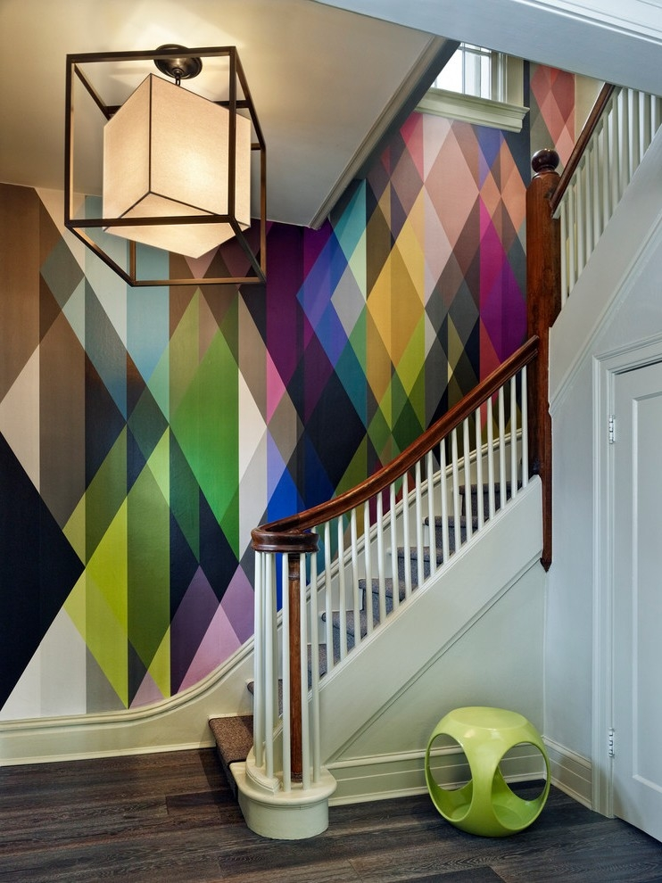 Denver Large Paisley Wallpaper Staircase Contemporary With Frosted | Glass And Chrome Staircase | Fusion | Black Stained | Frameless | Timber Glass | Glass Paneled