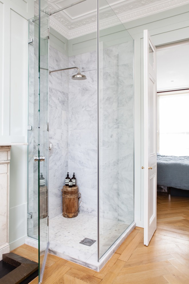 Good Looking Corner Shower Stalls With Bench Beige Door