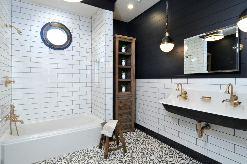 Los Angeles Black And White Bathroom Art Transitional With