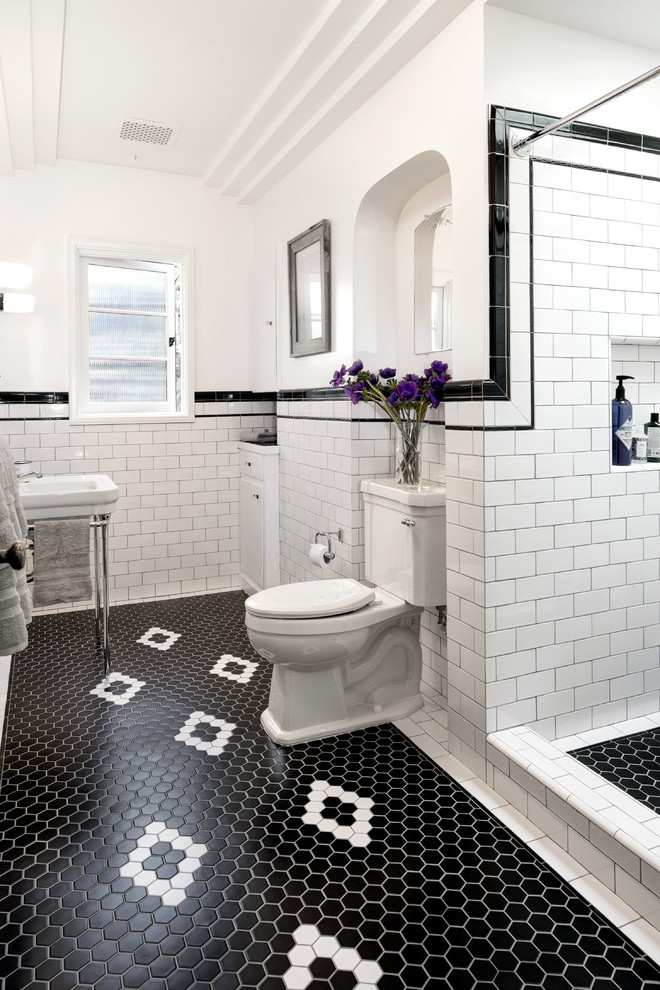 Brilliant Black Grout White Tile With Alcove Subway