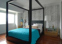 los angeles brown and blue wallpaper bedroom contemporary ...