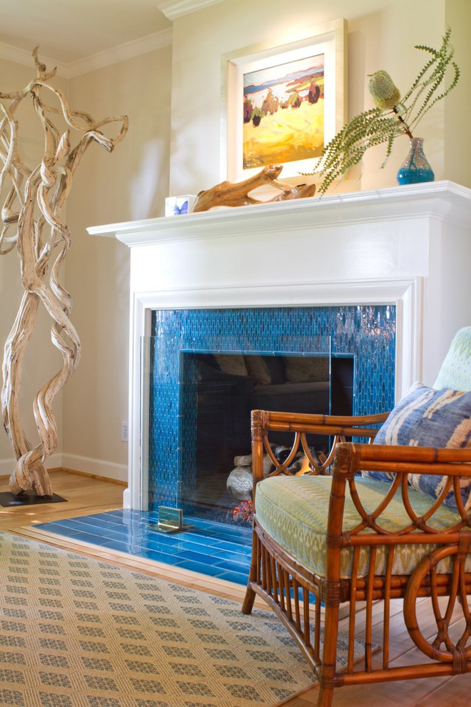 outstanding glass tile fireplace