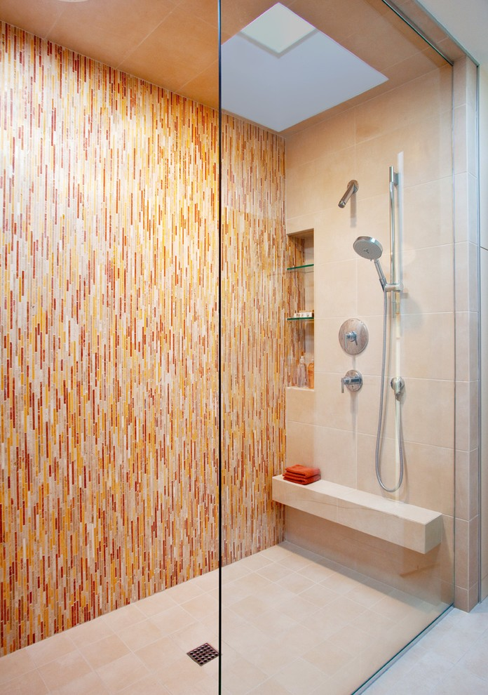 los angeles marble corner shower shelf bathroom contemporary with skylight showerheads and body