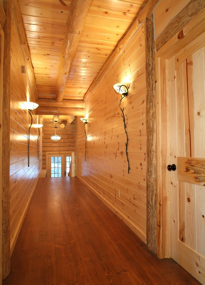 cabin living room decorating ideas small country mio michigan united states knotty pine walls hall rustic ...