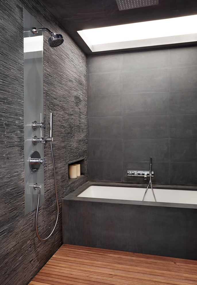 Glorious Slate Shower Tile with Black Tiled Rain Head  madebymoodcom