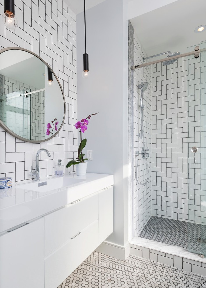 Pleasing Daltile Subway Tile White with Whtie Vanity Wall Hung