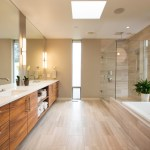 vancouver silver floor mirror with chrome showerheads and body sprays bathroom contemporary beige tile white countertop