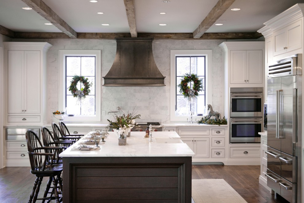 atlanta white carrara marble with contemporary wreaths and garlands kitchen traditional horse statue island