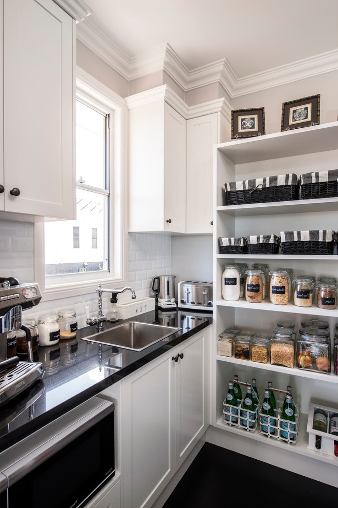 Brisbane Pantry Shelving Plans Kitchen Transitional With Black Countertop Contemporary Toasters Diy Storage
