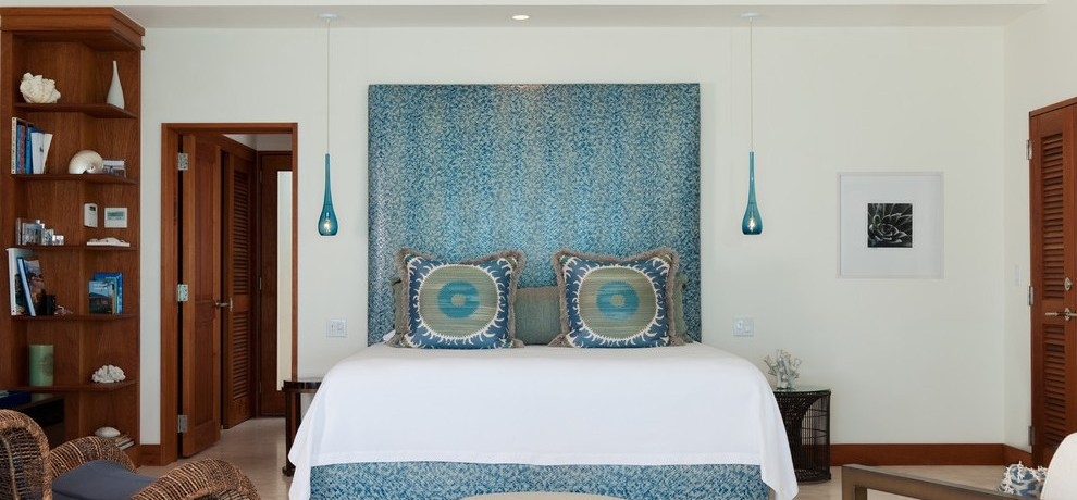 denver teal headboard with contemporary ceiling fans bedroom and suzani louvered doors