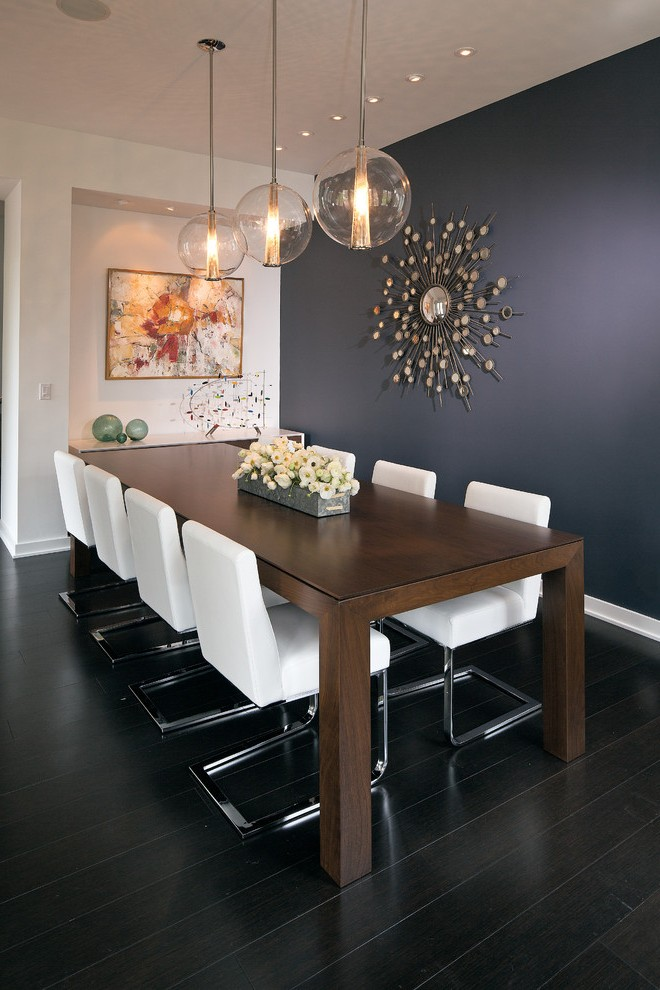 Pleasing Eclectic Dining Table With Rectangular Navy Blue