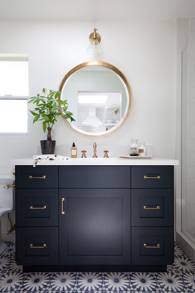 los angeles commercial bathroom design with traditional sink faucets beach style and guest house plants
