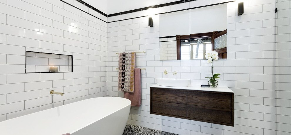 melbourne black white and yellow bathroom with modern vanities contemporary statement tile gold fixtures