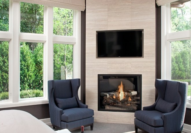 minneapolis outdoor corner fireplace with rectangular serving trays bedroom transitional and wall mounted tv blue armchairs