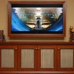 new york turquoise picture frame with brown pillar candleholders home theater traditional and tv cabinet