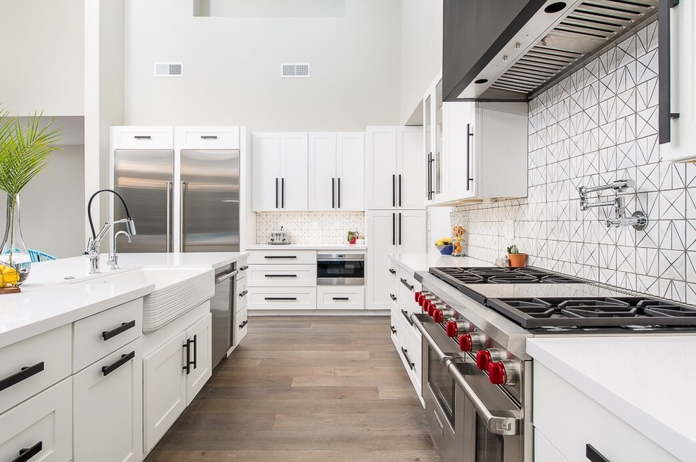 phoenix double farmhouse sink white with modern wall and floor tiles kitchen transitional two refrigerators