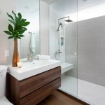 toronto commercial bathroom design with solid surface sink modern and walk-in shower wood floor