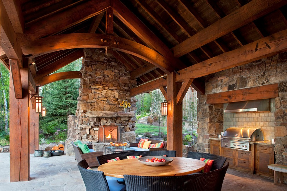 United States Rustic Fireplace Mantels Patio With Post And