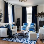 blue and white teal velvet curtains with contemporary table lamps transitional surrey west sussex united kingdom