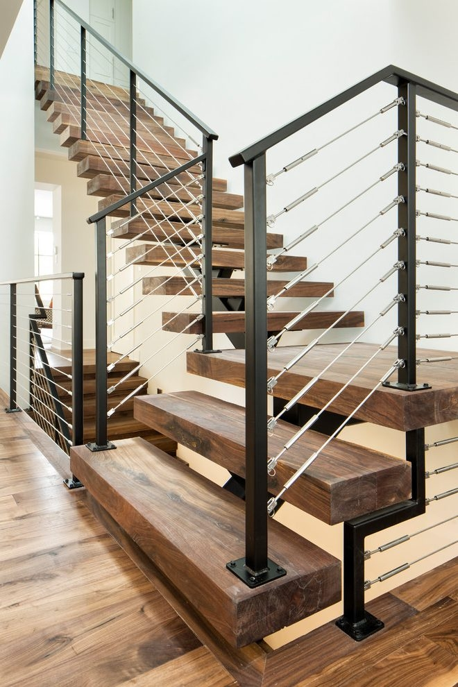 Brilliant Metal Stair Railings Staircase Contemporary With Black | Black Iron Stair Railing | Wrought Iron | Staircase | Beautiful Staircase | Outdoor Handrail Stair | Residential Stair