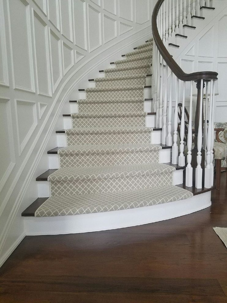 New York Patterned Carpet For Stairs Staircase Traditional With | Carpet Risers For Stairs | Hardwood Floors | Staircase Makeover | Hardwood | Open Riser | Stair Railing