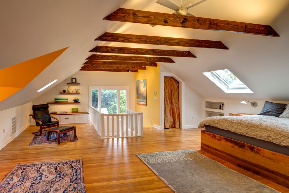 portland exposed beam ceiling photos bedroom transitional with collar ties gray pendant lights