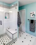 Good-looking Metal Shower Stall Bathroom Contemporary with Shelves Ceramic Tile Walk-