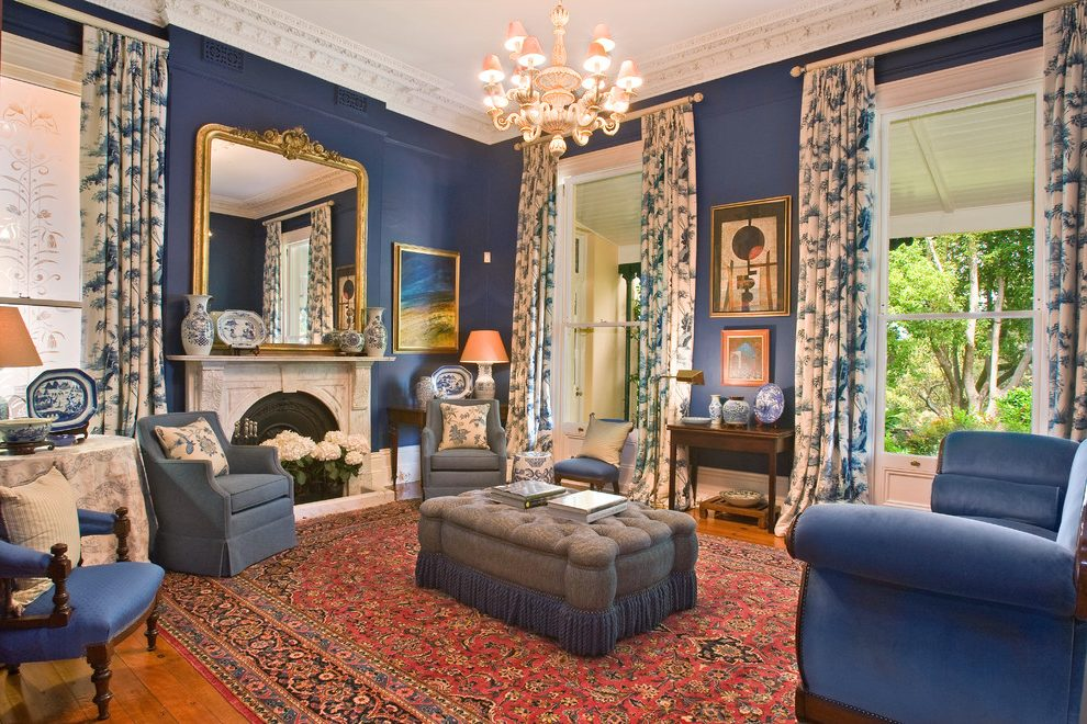 Pretty Blue and Cream Living Room Victorian with Real