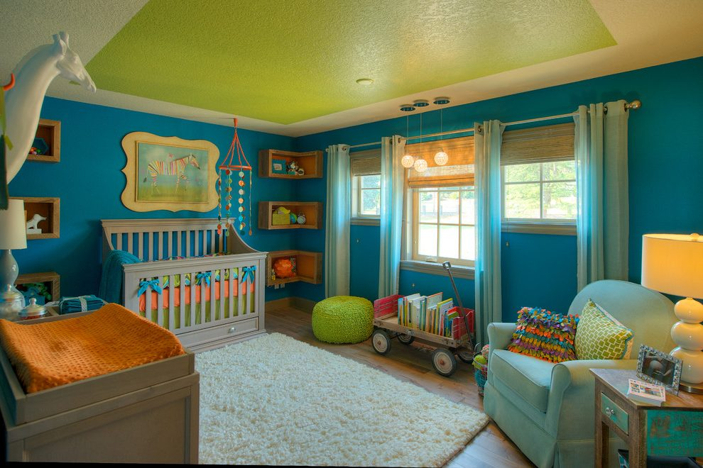 Vancouver Green And Turquoise Nursery Transitional With Orange Bedding Mediterranean Single