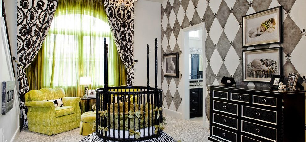 austin orange baby nursery with swarovski crystal chandeliers traditional and sheer green curtains patterned