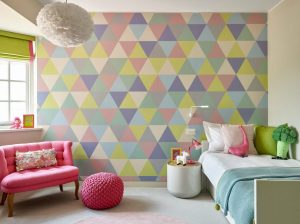 wall geometric decorating bedroom pattern decals contemporary basement london bedding girly walls bed leivars
