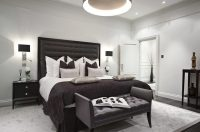 london black crown molding bedroom transitional with ...