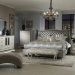 los angeles gray tufted headboard with wallpaper and wall covering professionals bedroom midcentury modern glam leather