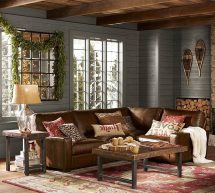 Sacramento Pottery Barn Chaise Living Room Rustic With