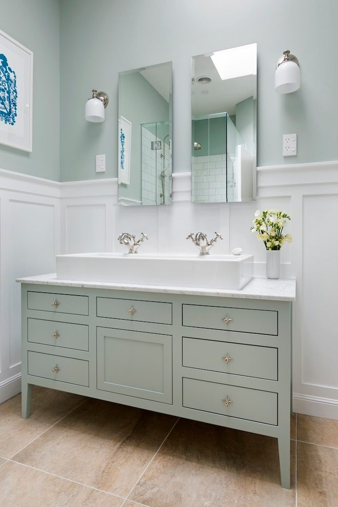 Auckland Traditional Wainscoting Bathroom With Shower Alcove Recessed Medium Tone Wood Vanity Bases2 Perrin And Rowe Faucet
