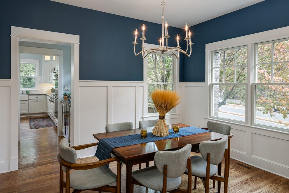 Blue Dining Room Antique White Walls Traditional Orange County With Standard Height Sets7