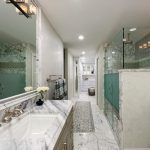dc metro marble shower bench with septic tank services bathroom transitional and in rain head