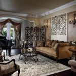miami living room wall sconces with victorian floor lamps and oriental rug crown molding