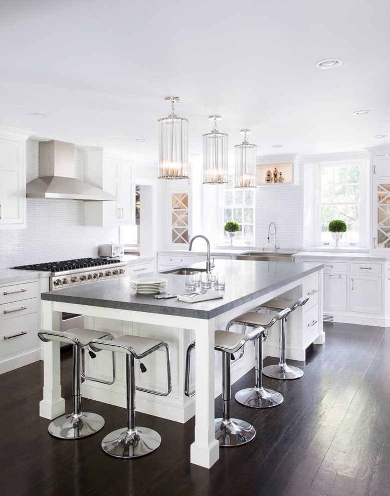 new york slipcovered counter stools with contemporary bar and kitchen transitional concrete countertop white cabinets