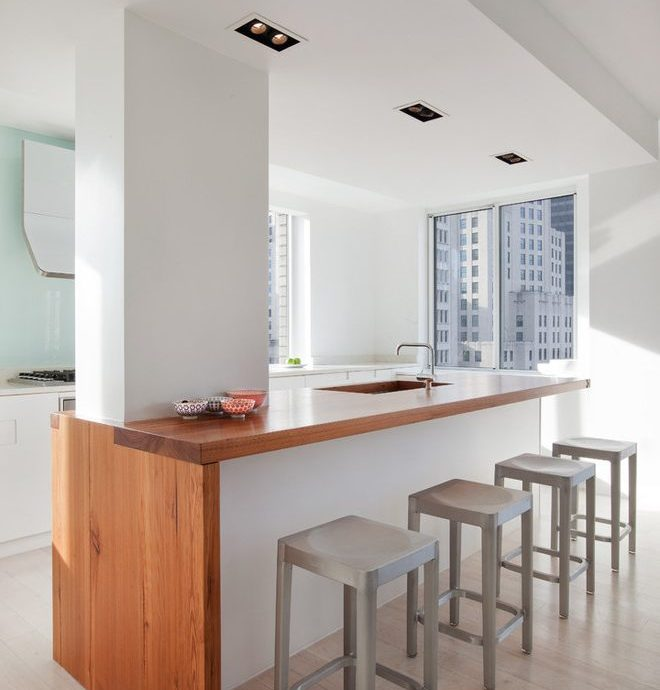 new york slipcovered counter stools with swivel kitchen faucets modern and light wood floor waterfall