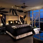 orange county black plaid curtains with transitional ceiling fans bedroom contemporary and bedding floor-to-ceiling windows