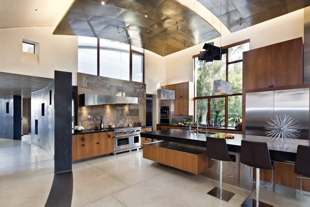 san francisco slipcovered counter stools with grate burners kitchen contemporary and black metal backsplash