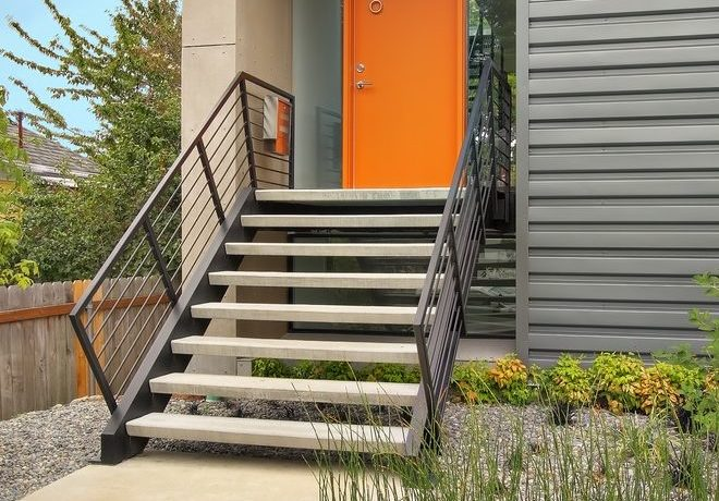 seattle orange modern curtains with brown address plaques exterior contemporary and house numbers geometric
