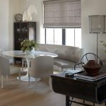 roman shades with border contemporary dining room tables and