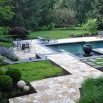 DC Metro travertine colors Landscape Transitional with lawn care and sprinklers moss balls